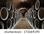 warehoused barrels in the wine... | Shutterstock . vector #172069190