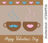 two teacups with mustache and...   Shutterstock .eps vector #172069916