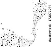 various music notes on stave ... | Shutterstock .eps vector #172071074