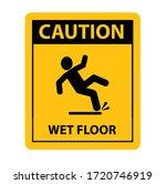 wet floor sign on white...   Shutterstock .eps vector #1720746919