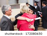 happy female graduate hugging... | Shutterstock . vector #172080650