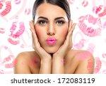 portrait of beautiful woman ... | Shutterstock . vector #172083119