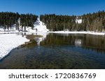 Early spring time over Twin lakes in the slope of Mammoth mountain, California, United States.
