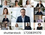 Small photo of Diverse colleagues engaged in webcam conference, discuss business ideas online together, multiracial businesspeople talk on video call, have online web briefing with work team, using modern app