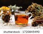 Herbal Tea In Glass On Stone...