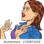 woman scared emotions reaction. ... | Shutterstock .eps vector #1720874239