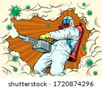 disinfection suit protection... | Shutterstock .eps vector #1720874296