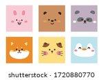set of cute animal face hand... | Shutterstock .eps vector #1720880770