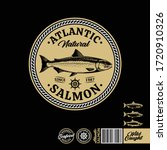 atlantic salmon logo on a black ... | Shutterstock .eps vector #1720910326
