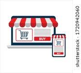 online shopping concept. open... | Shutterstock .eps vector #1720942060