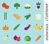 vegetables flat icon set with... | Shutterstock .eps vector #1720950469