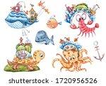 Watercolor Nautical Set. Hand...