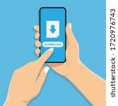 hand holds a mobile phone. the... | Shutterstock .eps vector #1720976743