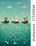 fisherman maze game with... | Shutterstock .eps vector #172100069
