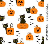 halloween cartoon seamless... | Shutterstock .eps vector #1721002663
