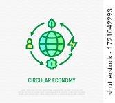 circular economy thin line icon.... | Shutterstock .eps vector #1721042293
