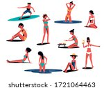 a set of people in swimsuits...   Shutterstock .eps vector #1721064463