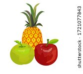 pineapple  green apple and red ...   Shutterstock .eps vector #1721077843