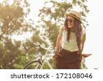 woman sitting on her fixed gear ... | Shutterstock . vector #172108046