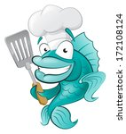 cute chef fish with spatula.... | Shutterstock .eps vector #172108124