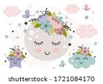cute poster with beautiful moon ... | Shutterstock .eps vector #1721084170