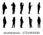 silhouette people standing set  ... | Shutterstock .eps vector #1721093530