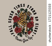 tiger with red roses around...   Shutterstock .eps vector #1721125333