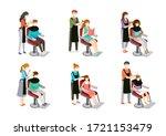 set of hairdresser doing hair... | Shutterstock .eps vector #1721153479