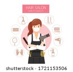 female hairdresser wearing... | Shutterstock .eps vector #1721153506