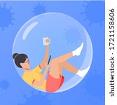 the girl in the bubble drinking ... | Shutterstock .eps vector #1721158606