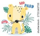 little leopard cartoon in... | Shutterstock .eps vector #1721163733