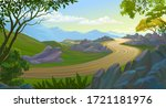 view of the mountains from a... | Shutterstock .eps vector #1721181976