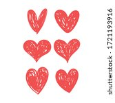 doodle hearts  hand drawn love...   Shutterstock .eps vector #1721193916