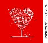 valentine tree heart shape for...   Shutterstock .eps vector #172119626