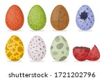 cartoon color dinosaur eggs... | Shutterstock .eps vector #1721202796