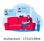 the girl works at home and... | Shutterstock .eps vector #1721215846