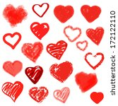vector hearts set. hand drawn. | Shutterstock .eps vector #172122110