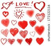 vector hearts set. hand drawn. | Shutterstock .eps vector #172122116