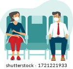 passengers wearing protective... | Shutterstock .eps vector #1721221933