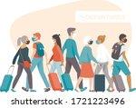 crowd of passengers wearing... | Shutterstock .eps vector #1721223496