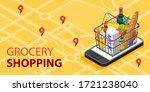 grocery shopping online concept....   Shutterstock .eps vector #1721238040