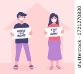 stay at home awareness social... | Shutterstock .eps vector #1721270830
