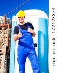 builder using mobile restroom...   Shutterstock . vector #172128374