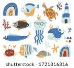 cute sea life collection set....   Shutterstock .eps vector #1721316316