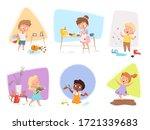 messy kids. happy children... | Shutterstock .eps vector #1721339683
