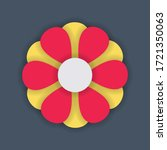 stylized flower with red and... | Shutterstock .eps vector #1721350063