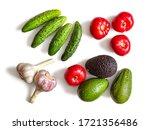 ingredients for vegetable salad.... | Shutterstock . vector #1721356486
