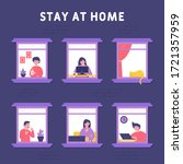 stay home concept. people were... | Shutterstock .eps vector #1721357959