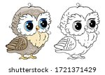 cute owl collection. monochrome ...   Shutterstock .eps vector #1721371429