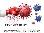 fight coronavirus concept. hand ... | Shutterstock .eps vector #1721379106